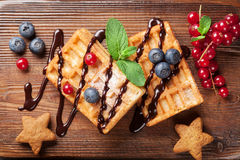 Waffles and berries Royalty Free Stock Photography