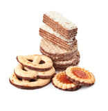 Waffles and biscuits. Stock Image