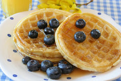 Waffles and Blueberries Royalty Free Stock Image
