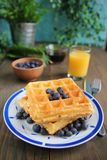 Waffles and blueberries Royalty Free Stock Photography