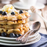 Waffles with blueberries and ice cream Royalty Free Stock Images