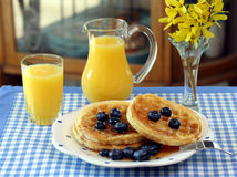 Waffles, Blueberries and Juice Stock Photo