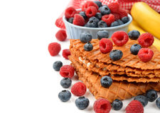 Waffles with blueberries and raspberries Stock Images