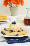 Waffles with blueberries and vanilla ice cream Royalty Free Stock Images