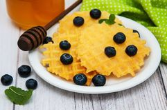 Waffles with blueberries Royalty Free Stock Images