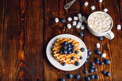 Waffles with Blueberry and Cup of Hot Chocolate. Royalty Free Stock Photo