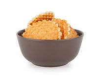 Waffles In The Bowl, Front View stock photography