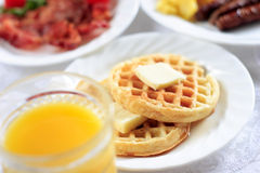 Waffles for breakfast Stock Image