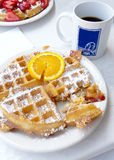 Waffles for breakfast Stock Images