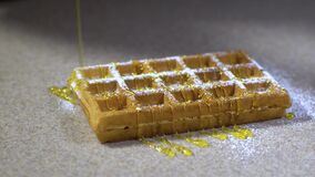 Waffles for breakfast / waffles with ice-cream and sweets