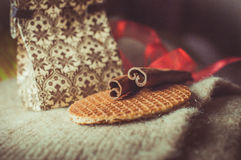 Waffles. Brown spices, cinnamon sticks, food Royalty Free Stock Photography