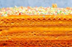 Waffles cake with caramel Royalty Free Stock Image