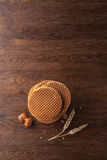 Waffles with caramel on wood Royalty Free Stock Image