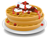 Waffles with cherries Royalty Free Stock Photos