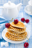 Waffles. With cherry on a plate royalty free stock photos
