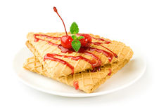 Waffles with cherry topping Royalty Free Stock Photography