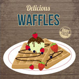 Waffles with chocolate, ice cream and berries retro poster Stock Photography