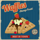 Waffles with chocolate, ice cream and berries retro poster Royalty Free Stock Photography