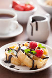 Waffles with chocolate and raspberry for breakfast Royalty Free Stock Photography