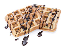 Waffles with Chocolate Sauce (isolated on white) Royalty Free Stock Photos