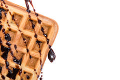 Waffles with Chocolate Sauce (isolated on white) Royalty Free Stock Photo