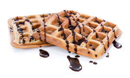 Waffles with Chocolate Sauce (isolated on white) Stock Photos