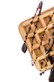 Waffles with Chocolate Sauce (isolated on white) Stock Photo
