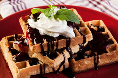 Waffles with chocolate sauce, whipped cream and confiture Stock Photos