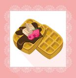 Waffles chocolate syrop desserts delicious vector illustration flavour. S Royalty Free Stock Photo