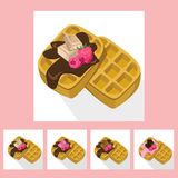 Waffles chocolate syrop desserts delicious vector illustration flavour. S Stock Photo