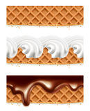 Waffles chocolate whipped cream Royalty Free Stock Image