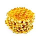 Waffles circle golden stack Stock Photos