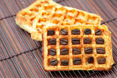Waffles and coffee beans Royalty Free Stock Photos