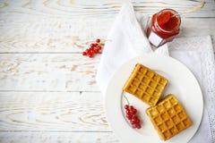 Waffles com doce e bagas do corinto vermelho em uma placa branca Imagens de Stock