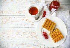 Waffles com doce e bagas do corinto vermelho em uma placa branca no Fotos de Stock Royalty Free