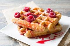 Waffles com framboesas Imagem de Stock Royalty Free