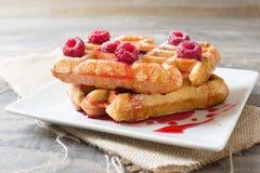 Waffles com framboesas Fotos de Stock Royalty Free