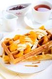 Waffles com gelado Foto de Stock