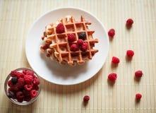 Waffles com mel, doce, e bagas em uma placa branca Foto de Stock Royalty Free