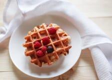 Waffles com mel, doce, e bagas em uma placa branca Fotografia de Stock