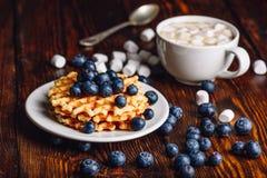 Waffles com mirtilo e chocolate quente Imagens de Stock