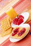 Waffles com o atolamento Foto de Stock