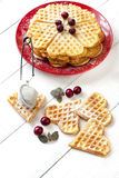 Waffles composition with berries Royalty Free Stock Images