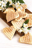 Waffles composition with flowers Stock Photography