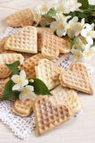 Waffles composition with flowers Royalty Free Stock Image