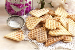 Waffles composition with flowers Royalty Free Stock Images