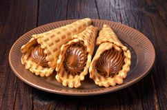 Waffles with condensed milk Royalty Free Stock Images