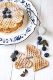 Waffles cozidos do coração Imagem de Stock Royalty Free