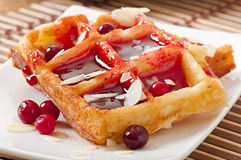Waffles with cranberry syrup Royalty Free Stock Photos