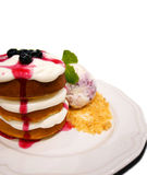 Waffles with cream, blueberry, ice cream and crumbles Stock Photography